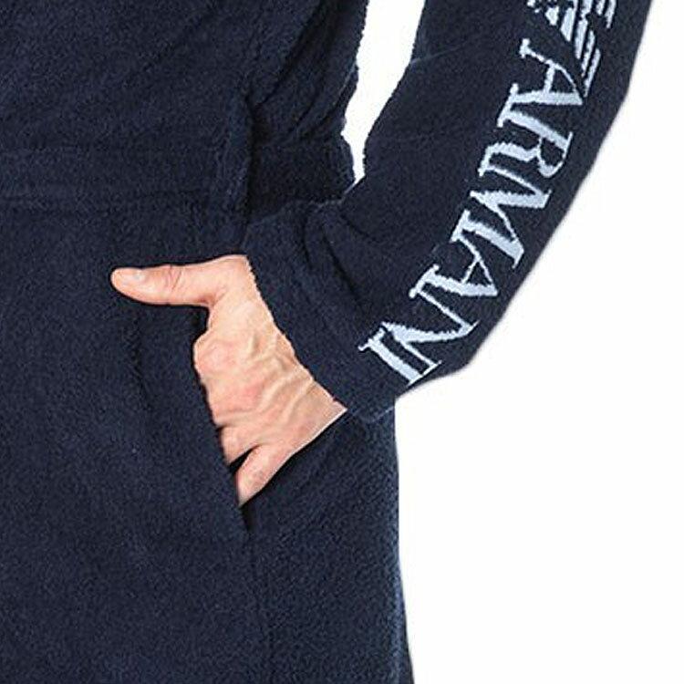 EMPORIO ARMANI エンポリオアルマーニ メンズ バスローブ ネイビーブルー ナイトガウン ナイトウエアコットンバスローブ【2117669p446】