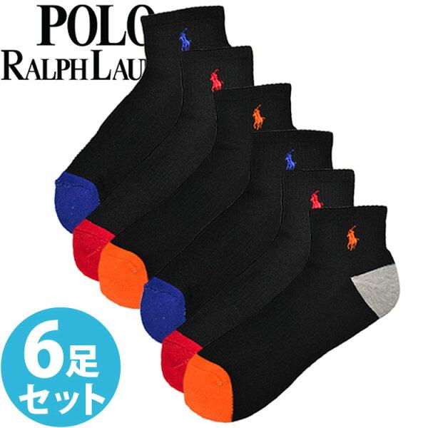 POLORALPHLAURENポロラルフローレンメンズ靴下アーチサポートソックス6足セット 824006PK4BKAST