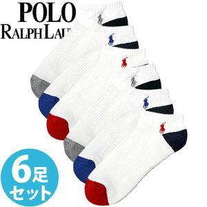 POLO RALPH LAUREN ポロ ラルフローレン メンズ アーチサポート スポーツソックス ホワイト 白 6足セット[827007PK2WHAST]【楽ギフ_包装】[あす楽]