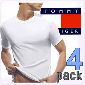 TOMMY HILFIGER トミーヒルフィガー メンズ 4パック クラシック クルーネック Tシャツ 4枚セット ホワイト[トップス アンダーウェア 下着 肌着 Tシャツ 白ティー][4枚セット 4パック][09T0001W]大きいサイズ ブランド【送料無料】