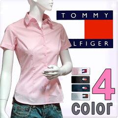 TOMMY HILFIGER トミーヒルフィガー レディース シャツ 4色展開[ピンク 黒 紺 青][XS/S/XL][半袖シャツ Yシャツ][ヨーロッパ仕様][1M50123829]大きいサイズ ブランド[5,400円以上で送料無料]