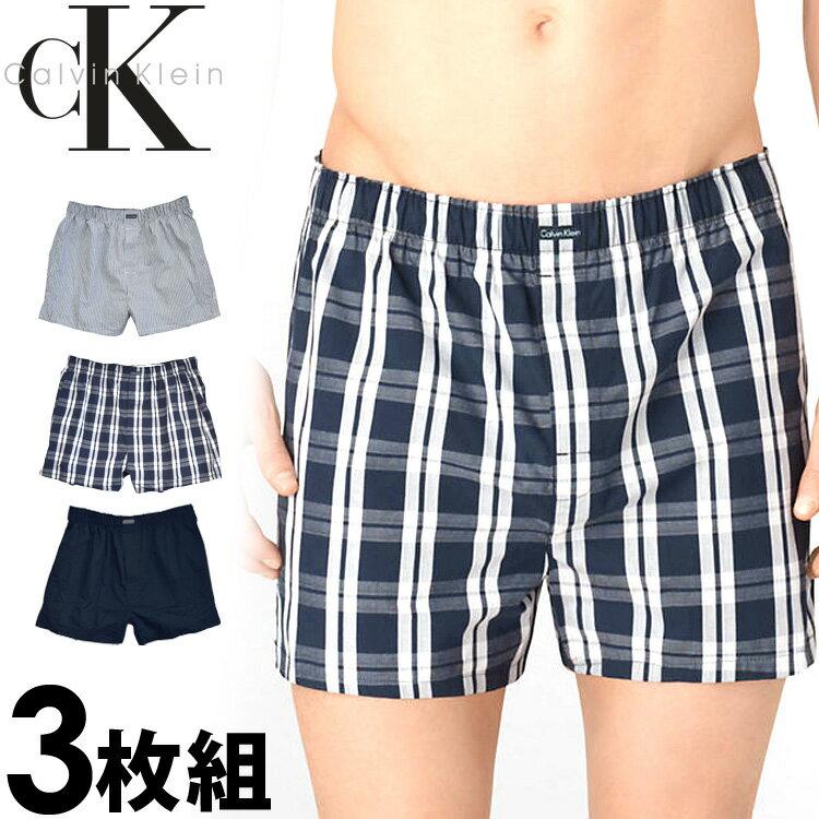Calvin Klein カルバンクライン メンズ トランクス 3枚セット ネイビー チェック ストライプ CK ボクサーパンツ S M L XL おしゃれ ブランド 大きいサイズ [5,500円以上で送料無料] 【あす楽】 [u1732460]