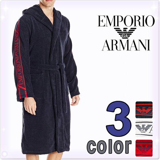 EMPORIO ARMANI[エンポリオアルマーニ]メンズ バスローブ 3色展開 ナイトガウン ナイトウエア[紺 白 赤]コットンバスローブ [ナイトガウン 部屋着 ナイトウエア ルームウェア][110799-6A591] 【送料無料】