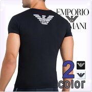 アルマーニ Tシャツ イーグル プリント ストレッチ コットン ブラック ホワイト アンダー ブランド