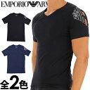 EMPORIO ARMANI エンポリオアルマーニ メンズ Vネック スリムフィット ロゴ 半袖Tシャツ イーグルマーク ブラック ネイビー S M L XL おしゃれ ブランド 大きいサイズ [5400円以上で送料無料] [あす楽][1117608a725]