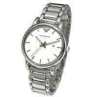 【新品】エンポリオアルマーニ時計[EMPORIOARMANIAR1854]メンズ腕時計[シルバー×白]エンポリオアルマーニメンズ腕時計[ホワイト銀レザーベルト][エンポリうでどけいウォッチ時計][送料無料]ブランド