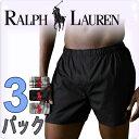 POLO RALPH LAUREN ポロ ラルフローレン ボクサーパンツ メンズ クラシックフィット ウーブン ボクサーズ トランクス 黒アソート 3枚セット[黒 ブラック][S/M/L/XL][ポロ・ラルフローレン ラルフローレン ブリーフ][5,400円以上で送料無料]大きいサイズ ブランド[P299]
