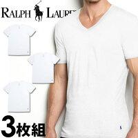 POLORALPHLAURENポロラルフローレンメンズクラシックコットンVネック半袖Tシャツ3枚セット[ホワイト/白][S/M/L/XL][ポロ・ラルフローレンラルフローレンtシャツ下着肌着アンダーウエアインナー][5,250円以上で送料無料][RL66W]【マラソン1207P02】