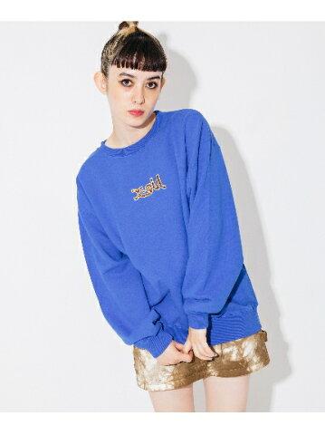 X-girl(エックスガール)LEOPARD LOGO CREW SWEAT TOP