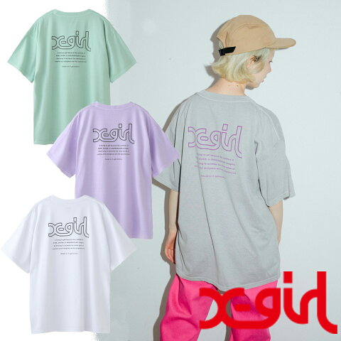 X-girl(エックスガール)【WEB限定】WORDS LOGO PIGMENT DYED S/S MENS TEE 半袖 tシャツ 105202011023
