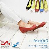 コンフォート パンプス【…AShiOtO】軽量パイソン柄使いが映える。オープントゥパンプス[FOO-FU-7435]H4.0(レディースシューズ 履きやすい靴 楽ちん らくちん 歩きやすい靴 疲れにくいパンプス レディース コンフォートシューズ シューズ 神戸)