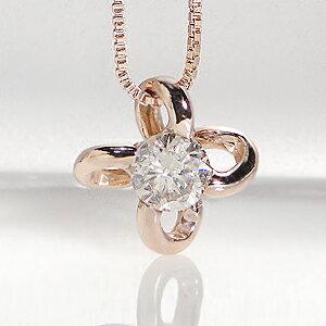 K18PGフラワーモチーフ一粒ダイヤモンドペンダント