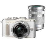 【送料無料】OLYMPUSオリンパスミラーレス一眼カメラPENE-PL8EZダブルズームキットホワイト