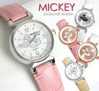 ミッキー腕時計ミッキーマウスレディーススワロフスキーキャラクターウォッチミッキー腕時計うでどけい女性用【Disney】MickeyMouse【Disneyzone】