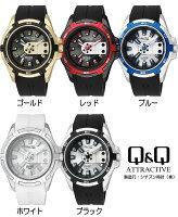 シチズンQ&Q海外限定モデルメンズ腕時計ラバー5気圧防水立体インデックスイオンプレートユニセックスウォッチ