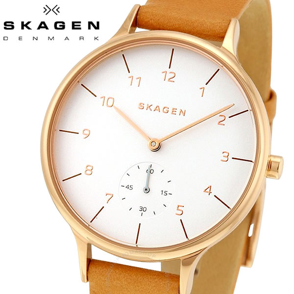 SKAGEN/スカーゲン ANITA アニタ 腕時計 レディース クオーツ  5気圧防水 ステンレス カーフレザー ミネラルガラス デンマーク 優美 シンプル SKW2405