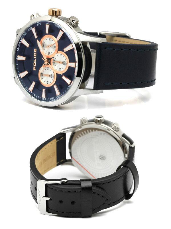 【マラソンSALE】【】 【POLICE】 ポリス 腕時計 メンズ クロノグラフ レザーバンド PL15000JS
