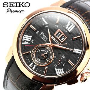 セイコー SEIKO 腕時計 メンズ ジョコビッチ限定モデル プルミエ キネティック Premier KINETIC 革ベルト ブラウン ブランド 人気 レザー SNP146P1