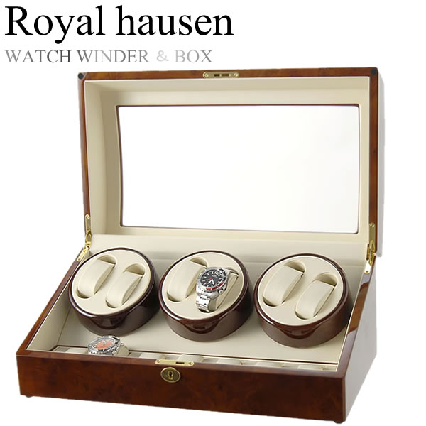 Royal hausen ロイヤルハウゼン 時計ワインダー 自動巻き ワインディングマシーン マブチモーター 収納 コレクション ケース MDF 6本巻き 7本収納 GC03-T31:CAMERON