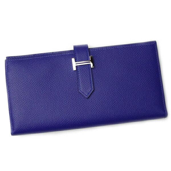 5feccd9cd3b7 ... 限定品   エルメス HERMES 財布 ベアン スフレ H039785 ブルー系 レディース メンズ 二つ折り 折財布 ヴォーエプソン  ブルーエレクトリック シルバー金具