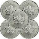 メイプルリーフ 銀貨 2021年 カナダ 1オンス 5枚 セット 38mm メイプル銀貨 純銀 インゴット 38mmクリアケース付き 新品未使用