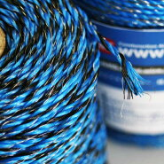 獣害対策電気柵用錫メッキ銅線&ポリワイヤーCCP_HW-112ブルー&ブラック(200m巻)