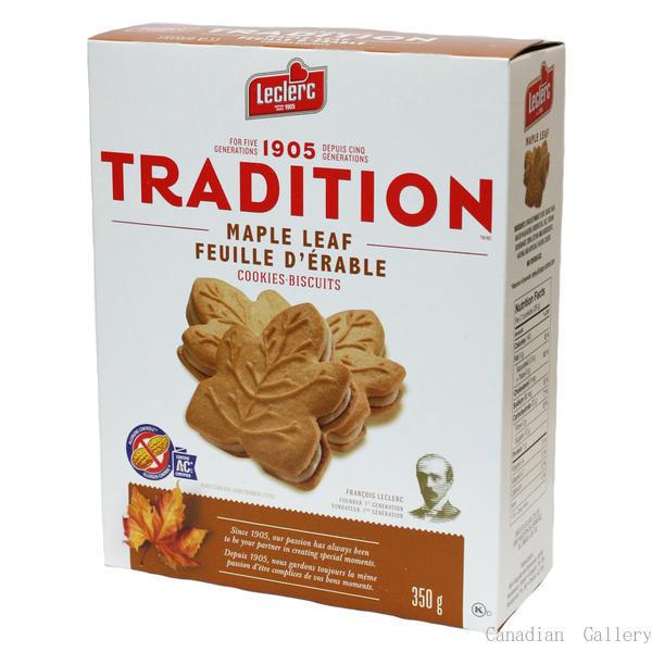 トラディション メープルリーフクッキー 350g24枚入 1箱<br>レクラーク<br><br>メープルの風味(フレーバー)豊なクリームがサンドされています。
