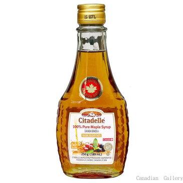 カナダ産 100%ピュア メープルシロップ グレードA ゴールデン(デリケートテイスト) 189ml/250g(瓶) 12本 シタデール(Citadelle)