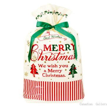 クリスマス クラシカル リボン付き バッグ (L)1枚 サイズ:横34cm×縦53cm(紐下38cm)×底マチ8cm【メール便可】【返品・キャンセル不可】ch
