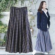 ウエストゴムポリエステル スカート チェック レディース ファッション