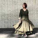 【 ギャザー バランス ワンピース 】羽織りやショートアウターと。揺れるAライン レディースファッション ワンピース マキシ ロング コットン 綿 その1
