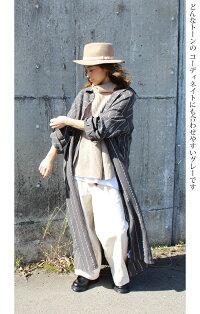 【リネンストライプビッグシャツ】(約)着丈130cm/バスト130cm