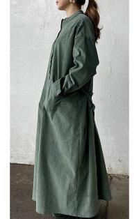 【コーデュロイヨークシャツワンピース】<LEMON>襟なしコートにも