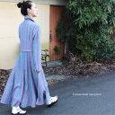 【 ツートンカラーワンピース フラワー 】 裾が花のように広がった設計 シャツワンピース レディース ワンピース マキシ Aライン アウター コート ロング 羽織り その1