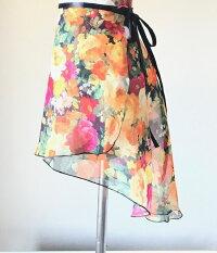 バレエスカート花柄ジュニア&大人用トゥリーナラップスカート(クラシックタイプ)巻きスカートレッスン用