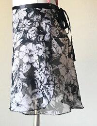 バレエスカートジュニア大人トゥリーナラップスカート14インチ35cmスタンダート丈巻きスカート花柄エレガントおしゃれ練習レッスン