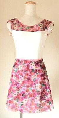5カラー!日本製オリジナル巻きバレエスカート大人メッシュ生地ストレッチリボンフィット花柄エレガントレッスンおしゃれずれない
