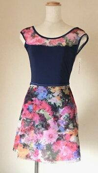 5カラー!日本製オリジナル巻きバレエスカート大人パワーメッシュ生地がよく伸びて体にフィット!花柄が素敵です