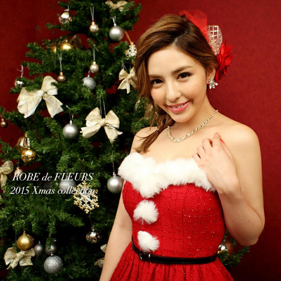 f5688be6514ea クリスマスドレス X mas ROBE サンタ風2WAYベアAラインミニドレスパーティードレス サンタコス 着用 FLEURS