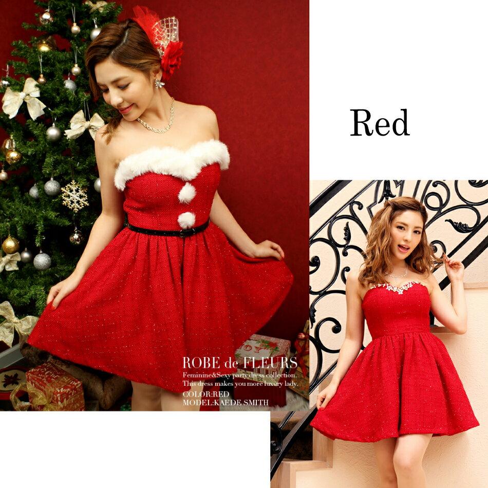 df6b5d46b2007 季節感のあるラメツイード素材で仕上げたミニドレス。 クリスマス時には付属のファーやベルトを付けて、サンタ風ドレスとしても着れる2WAYデザイン♪