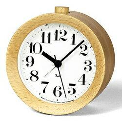 ★送料無料!木製の丸みを帯びた枠体は、軽やかで、柔らかな印象。ナチュラルウッド。【Lemnos(レムノス) RIKI ALARM CLOCK アラーム時計 ナチュラル WR09-15 NT】