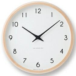★送料無料!美しいブナ材と、ゆるやかにカーブを描く針が印象的な電波時計。ナチュラル。【Lemnos(レムノス)Campagne 電波時計 ナチュラル PC10-24W NT】