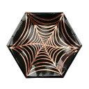★50%off!あす楽!【MERIMERI】蜘蛛の巣ハロウィンパーティープレート ブラック&ゴールド 8枚セット