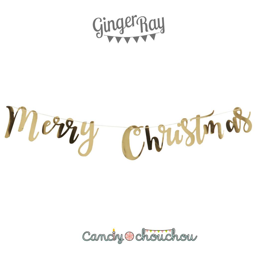 メール便送料無料!【GingerRay】クリスマス MERRY CHRISTMAS スクリプト ゴールド ガーランド