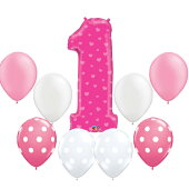 1歳バースデーにぴったり!大きな「1」のピンクハーバルーンとピンクグラデーショドットバルーンのセット