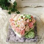 バラのハート型ケーキ(チーズケーキ味)【ケーキバタークリームケーキバタークリームホールケーキ美味しいケーキ冷凍ケーキ花バラレモンピール味