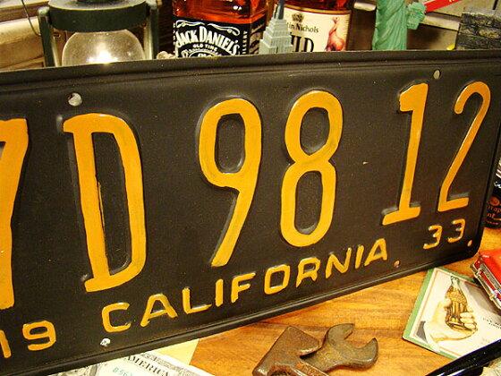 1930年代のカリフォルニア州のアンティークライセンスプレートレプリカ(ブラック/英語が下)★アメリカ雑貨★アメリカン雑貨