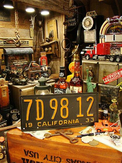 【レプリカ】1930年代のカリフォルニア州のアンティークライセンスプレートレプリカ(ブラック/英語が下)■ナンバープレートアメリカ看板サインプレートアメリカ雑貨アメリカン雑貨