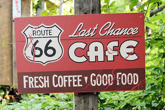 昔のルート66のウッドサイン(ルート66カフェ)★アメリカ雑貨★アメリカン雑貨