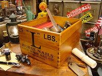 ホースネイルのウッドボックス★アンティーク風木箱木箱小物入れガーデニングケース小物ボックス通販ワイン収納アンティークアメリカ雑貨アメリカン雑貨